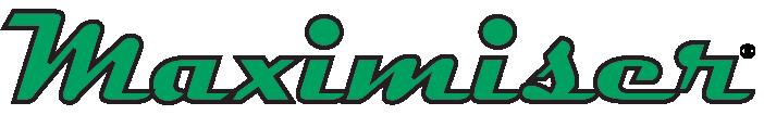 Maximiser written in stylized green letters