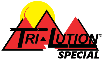 Tri-Lution logo with three red mountains in front of a yellow sun